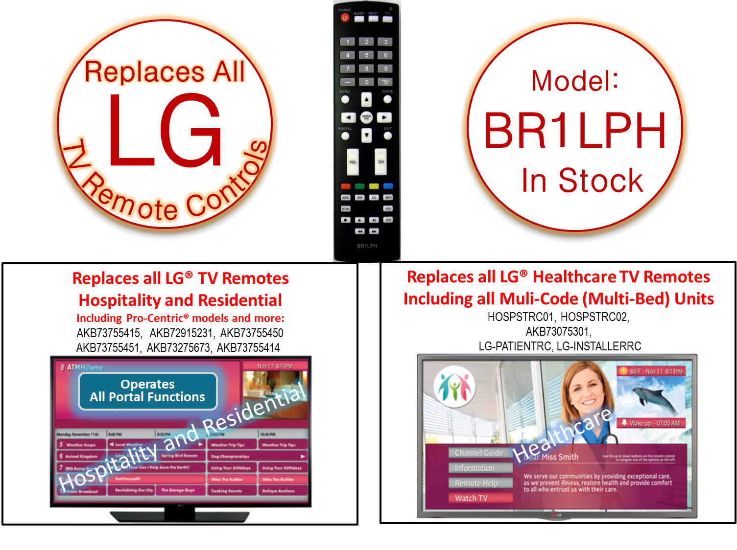 BR1LPH Replacement Remote Control For all LG TVs
